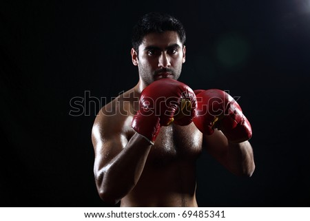young make boxer posing on black geniune lens flare on the background