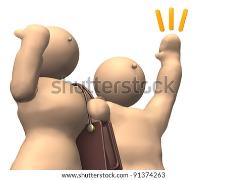 Young male and female businessmen have raised their hands. This is a computer generated image,on white background.