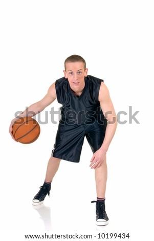 Young male basketball player, studio shot, reflective surface