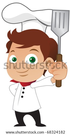Young male chef holding a frying spoon - raster version