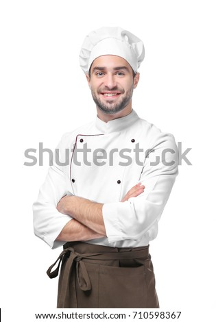 Shutterstock Young male chef isolated on white
