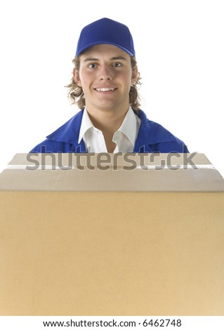Young male courier with carton box. He's looking at camera. Front view