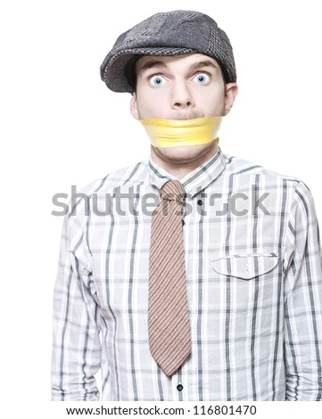 Young Male Crime Scene Witness With Terrified Expression Standing Taped And Gagged To Prevent Talking Isolated On White