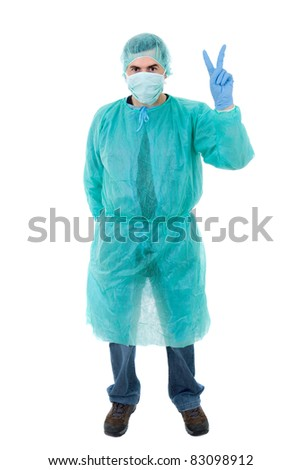 young male doctor full length, isolated on white background