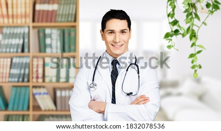Young male doctor make online telemedicine video call consult patient.
