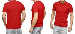 Young male in blank red t-shirt, front and back view, isolated white background with clipping path. Design men tshirt template and mockup for print