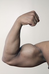 Young male's flexed bicep muscle