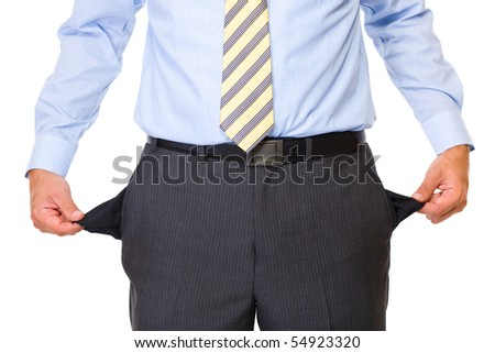 young male shows empty pockets in his trousers, business concept, studio shoot isolated on white background