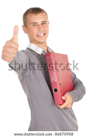 young male student with file binder