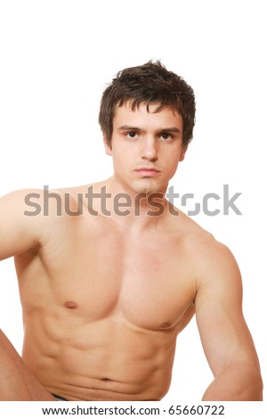stock photo : Young male underwear model over white background