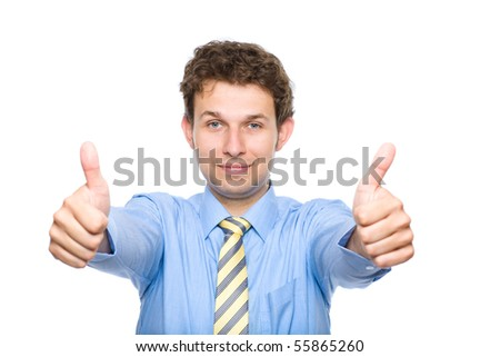 young male wearing blue shirt and yellow necktie shows thumb up gesture, studio shoot isolated on white