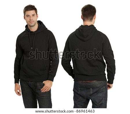 Young male with blank black hoodie, front and back. Ready for your design or artwork.