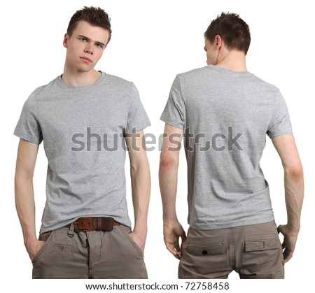 blank white t shirt back. with lank gray t-shirt,