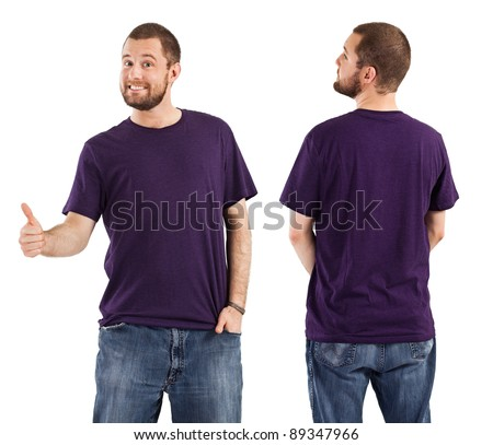 Young male with blank purple t-shirt, front and back. Ready for your design or artwork.