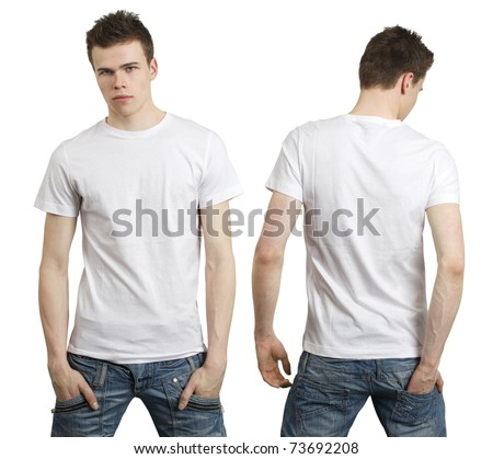 blank white tee. stock photo : Young male with lank white t-shirt, front and back.