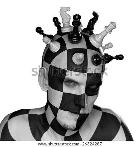 young male with chess king head with clipping path