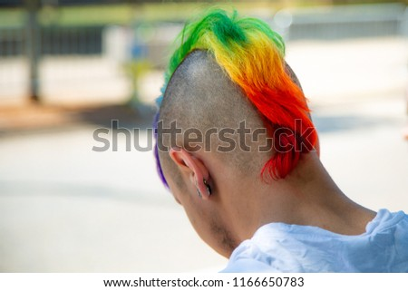 Young male with mohawk dyed in Pride colors at Gay Pride March 2018