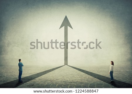 Young man and woman pathway join together and transform into a straight arrow going up. Business cooperation and partnership, sharing thoughts, working and merge for common goal.