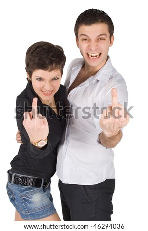 Young man and woman showing middle finger
