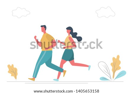 Young man and young woman in sportswear are running along the road in the park. There is also plants and clouds in the picture. Funny flat style. Raster