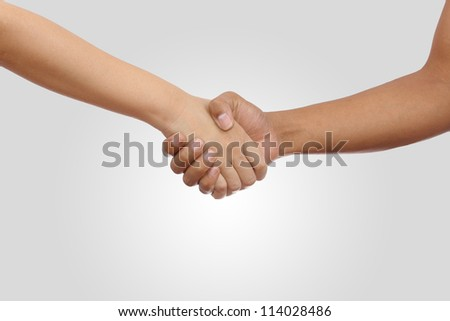 Young man and Young woman Shake Hand