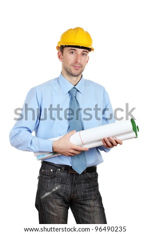 Young man architect with helmet and drafts isolated on white