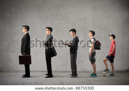 Young man at different stages of his life