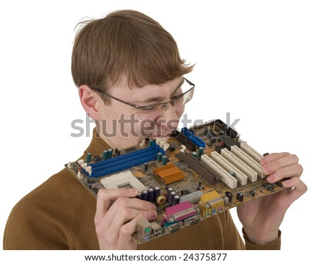 Young man bite motherboard on the white background