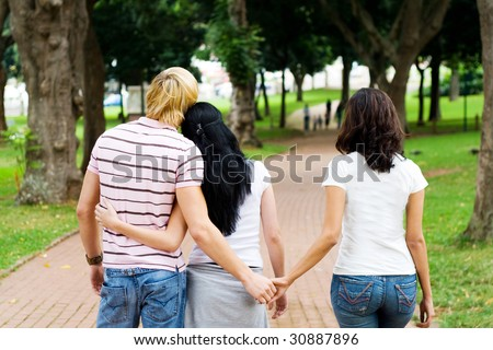 young man cheating on his girlfriend with her best friend #30887896