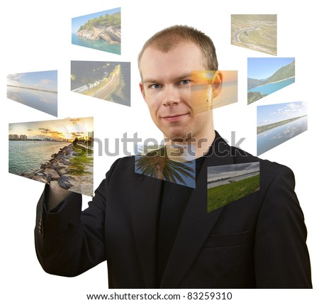 Young man choosing vacation - all used pictures are from my gallery