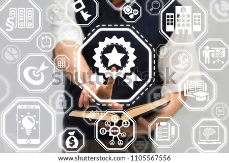 Young man clicks on a reward star sign surrounded by specific icons. Award, Medal Quality Learning concept. Motivation and rewarding in education and science. #1105567556