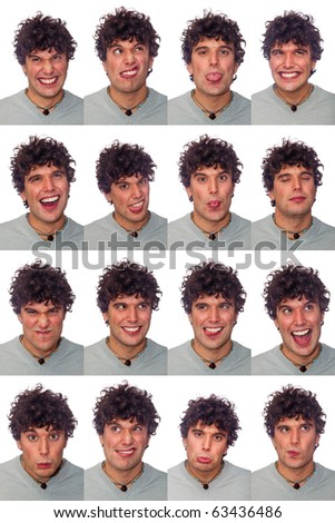Young Man Collection of Expressions on White Background