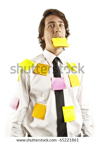 young man covered by notes