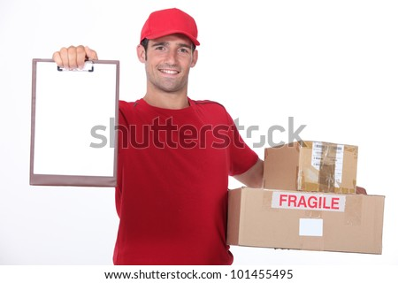 young man delivering parcels