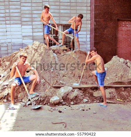 young man digging. Productivity concept in business. - stock photo