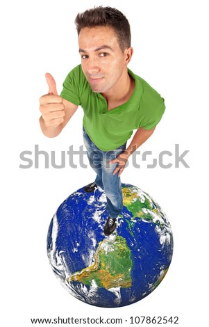 young man doing thumb up on top of a globe - elements of this image furnished by NASA
