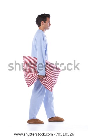 Young man dress with nightclothes (isolated on white)