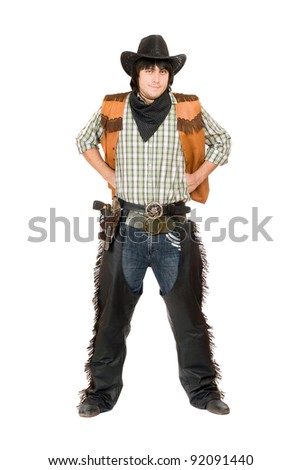 young man dressed as cowboy....
