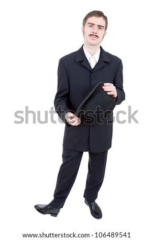 young man dressed as vintage groom, full length
