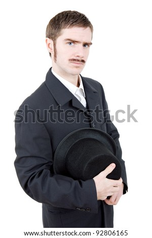 young man dressed as vintage groom, isolated - stock photo