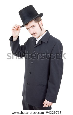 young man dressed as vintage groom, isolated
