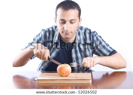 Young man eating healthy food