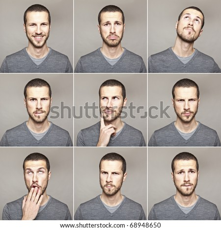 young man face expressions composite isolated on grey background