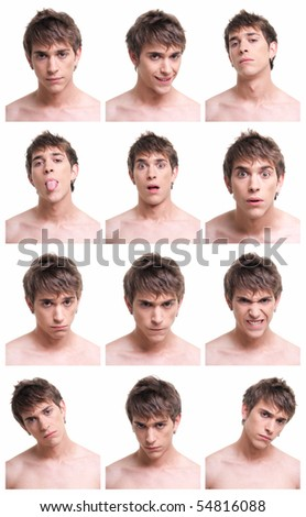 young man face expressions composite isolated on white background. - stock photo