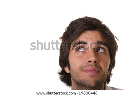 young man face looking to the copy space (isolated in white)