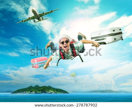 young man flying from passenger plane to natural destination island on blue ocean with happiness face emotion use for people traveling on vacation holiday in summer season