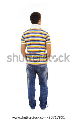 Young man from the back looking at something over a white background