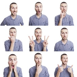 young man funny face expressions composite isolated on white background