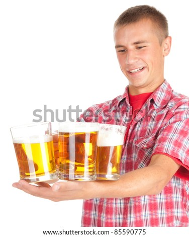 young man giving mugs of beer, white background