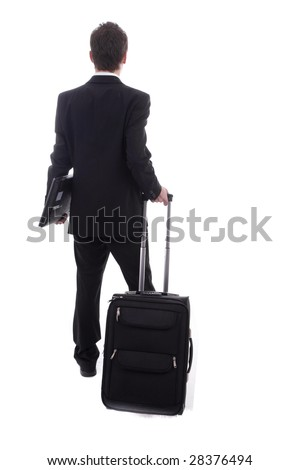 Young man going on vacations, isolated over white